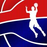 Fondo rosso e blu di pallacanestro Fotografie Stock Libere da Diritti