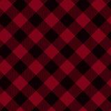 Fondo rosso e nero del tessuto del plaid Fotografia Stock