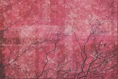 Fondo rosso e rosa astratto con i rami illustrazione vettoriale