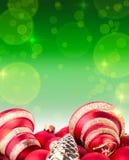 Fondo rosso e verde del nuovo anno e di Natale Fotografie Stock Libere da Diritti