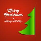 Fondo rosso e verde della carta dell'albero di Natale Immagine Stock