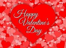 Fondo rosso felice dell'estratto di forma del cuore di giorno di biglietti di S. Valentino