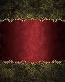 Fondo rosso misero di lerciume vecchio con un piatto elegante Elemento per progettazione Mascherina per il disegno copi lo spazio Immagine Stock