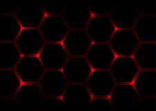 Fondo rosso scuro astratto con gli esagoni e la luce rossa Fotografie Stock Libere da Diritti