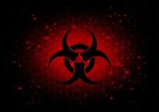 Fondo rosso scuro di simbolo astratto di rischio biologico Fotografia Stock