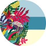 Fondo rotondo della flora tropicale illustrazione di stock