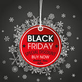Fondo rotondo di buio di Black Friday dell'autoadesivo di prezzi Fotografie Stock Libere da Diritti
