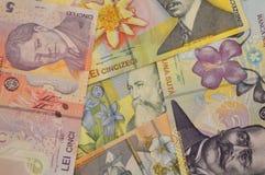 Fondo rumano de la moneda del billete de banco de los leus Fotos de archivo libres de regalías