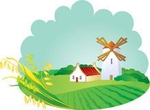 Fondo rural con el windwill y los oídos Fotografía de archivo