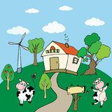Fondo rurale con l'azienda agricola e due mucche divertenti Fotografia Stock