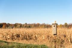 Fondo rurale con la Camera dell'uccello in priorità alta Fotografia Stock