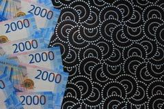 Fondo ruso del dinero, nuevas 200 y 2000 rublos denominación rusa del dinero imagen de archivo libre de regalías