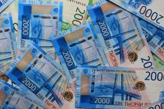 Fondo russo dei soldi, nuove 200 e 2000 rubli denominazione russa dei soldi immagine stock libera da diritti