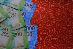 Fondo russo dei soldi, nuove 200 e 2000 rubli denominazione russa dei soldi fotografie stock libere da diritti