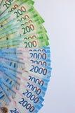Fondo russo dei soldi, nuove 200 e 2000 rubli denominazione russa dei soldi fotografie stock