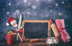 Fondo rustico per cottura o la cottura di Natale fotografia stock libera da diritti