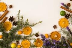 Fondo rustico tradizionale di Natale con il tema Mediterraneo: bastoni di cannella, pigna, anice stellato, arance asciutte, R di  fotografie stock libere da diritti