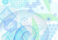 Fondo sacro di simboli e degli elementi della geometria Immagini Stock