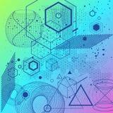 Fondo sacro di simboli e degli elementi della geometria Fotografie Stock