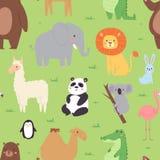 Fondo salvaje de los caracteres del parque zoológico del papel pintado de la fauna de los animales de la historieta para el model stock de ilustración