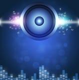 Fondo sano blu di musica di Speakerl Immagini Stock