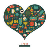 Fondo sano de la forma de vida, amo el deporte, sistema dibujado mano del garabato Foto de archivo