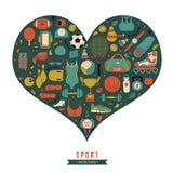 Fondo sano di stile di vita, amo lo sport, insieme disegnato a mano di scarabocchio Fotografia Stock