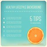 Fondo sano di stile di vita e di cibo con la fetta arancio Immagine Stock Libera da Diritti