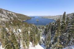 Fondo scenico di inverno del lago Tahoe Fotografia Stock