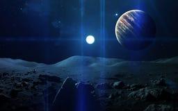 Fondo scientifico astratto - pianeti in spazio, nebulosa e stelle Elementi di questa immagine ammobiliati dalla NASA della NASA g Immagini Stock