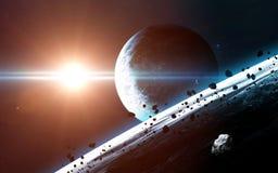 Fondo scientifico astratto - pianeti in spazio, nebulosa e stelle Elementi di questa immagine ammobiliati dalla NASA della NASA g Immagini Stock Libere da Diritti