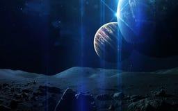 Fondo scientifico astratto - pianeti in spazio, nebulosa e stelle Elementi di questa immagine ammobiliati dalla NASA della NASA g Fotografia Stock