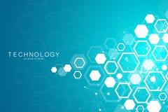 Fondo scientifico della molecola per medicina, scienza, tecnologia, chimica Carta da parati o insegna con le molecole di un DNA royalty illustrazione gratis