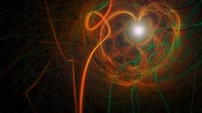 Fondo scuro con le bande arancio e verdi di energia Fotografia Stock