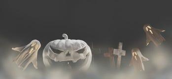Fondo scuro 3d-illustration della foschia della nebbia della zucca bianca di Halloween illustrazione vettoriale