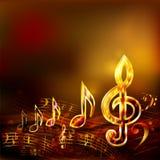 Fondo scuro di musica con le note musicali dorate e la chiave tripla Fotografia Stock