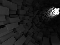 Fondo scuro futuristico astratto del tunnel dei blocchetti dei cubi Fotografie Stock