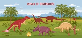 Fondo selvaggio del mondo del dinosauro Immagine Stock Libera da Diritti