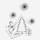 Fondo semplice di natale di vettore con l'albero, i regali ed i fiocchi di neve di carta Immagine Stock