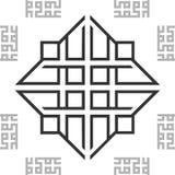 Fondo senza cuciture arabo orientale in bianco e nero di struttura delle mattonelle del modello di BW dell'ornamento Vettore illustrazione vettoriale