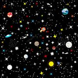 Fondo senza cuciture astratto la costellazione della galassia su un fondo nero Il cielo stellato dell'universo Astronave nella s illustrazione vettoriale