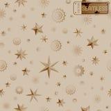 Fondo senza cuciture beige di struttura di fascino con le stelle ed i fiocchi di neve Immagini Stock Libere da Diritti