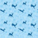 Fondo senza cuciture blu-chiaro di natale con le capre Illustrazione di Stock