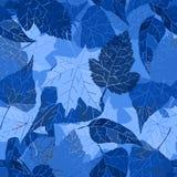 Fondo senza cuciture blu con le foglie Fotografia Stock Libera da Diritti