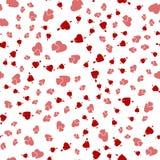 Fondo senza cuciture con differenti cuori colorati per i biglietti di S. Valentino fotografia stock libera da diritti