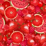 Fondo senza cuciture con frutta e le bacche rosse Illustrazione di vettore royalty illustrazione gratis
