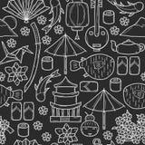 Fondo senza cuciture con gli oggetti a disposizione disegnati illustrazione vettoriale