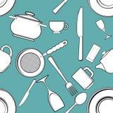 Fondo senza cuciture con gli utensili antichi della cucina Fotografia Stock