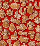 Fondo senza cuciture con i biscotti del pan di zenzero di Natale Fotografie Stock