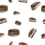 Fondo senza cuciture con i biscotti della spugna Fotografia Stock